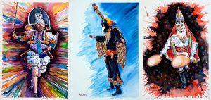 O centro cultural Marcos Valcárcel acolle a exposición Senlleiro e ancestral: As caras do entroido ourensán, do pintor José Manuel Sánchez